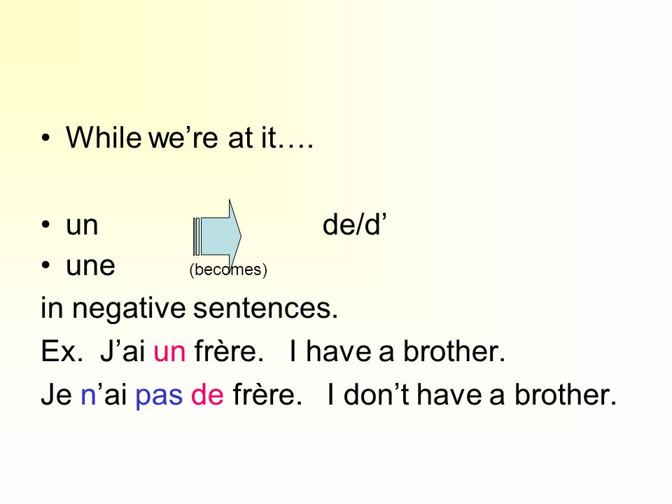 While we're at it…. un de/d' une (becomes) in negative sentences.