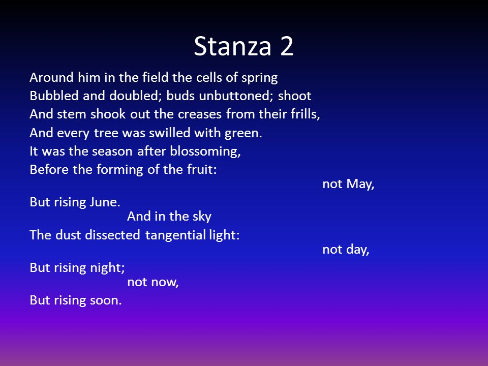 Stanza 2 Around him in the field the cells of spring