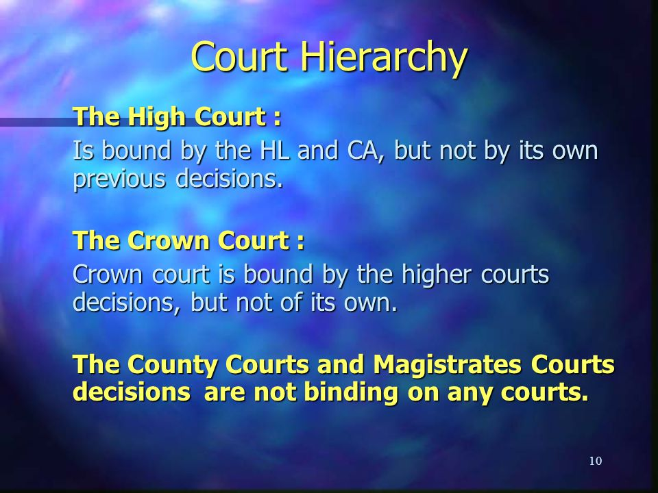 Court Hierarchy The High Court :