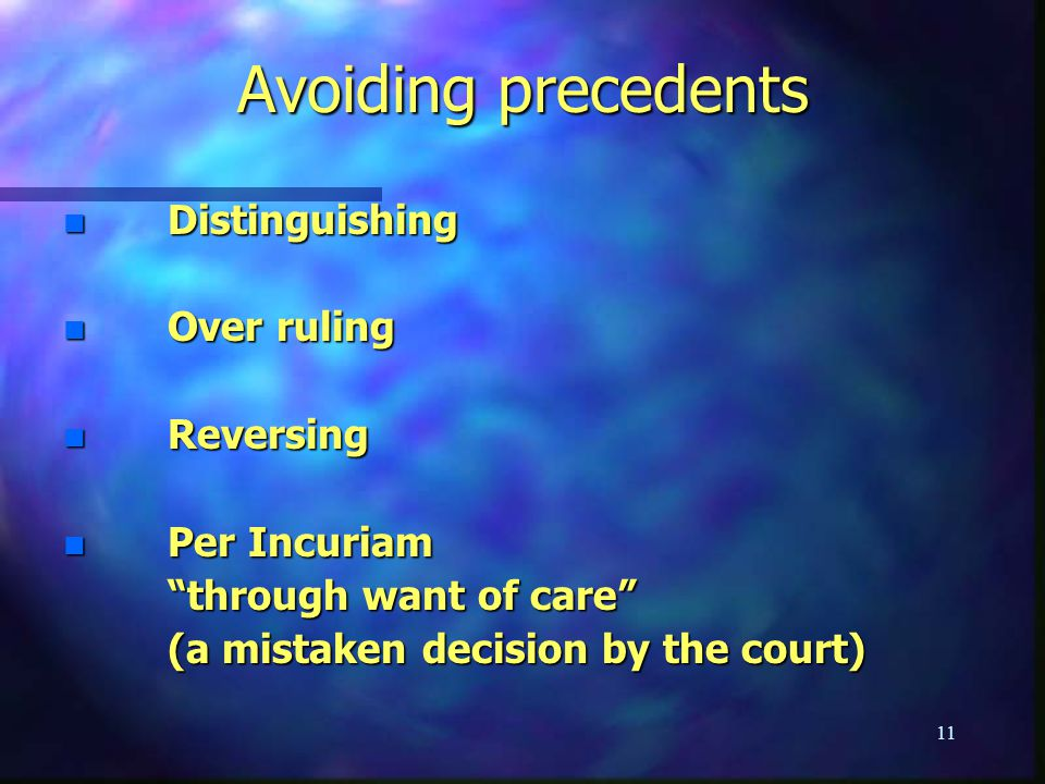 Avoiding precedents Distinguishing Over ruling Reversing Per Incuriam