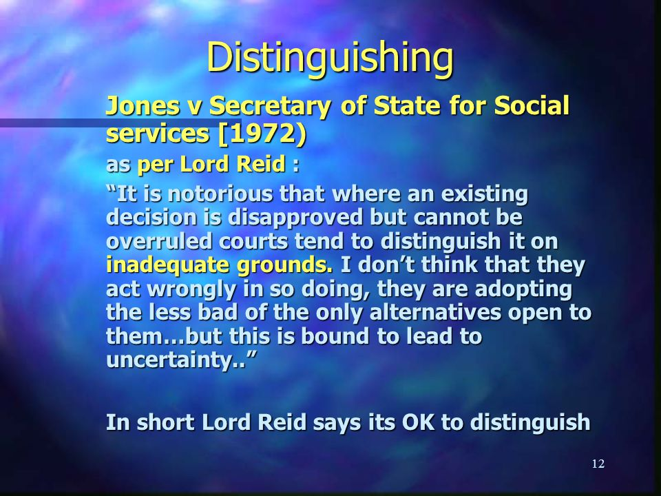 Distinguishing Jones v Secretary of State for Social services [1972)