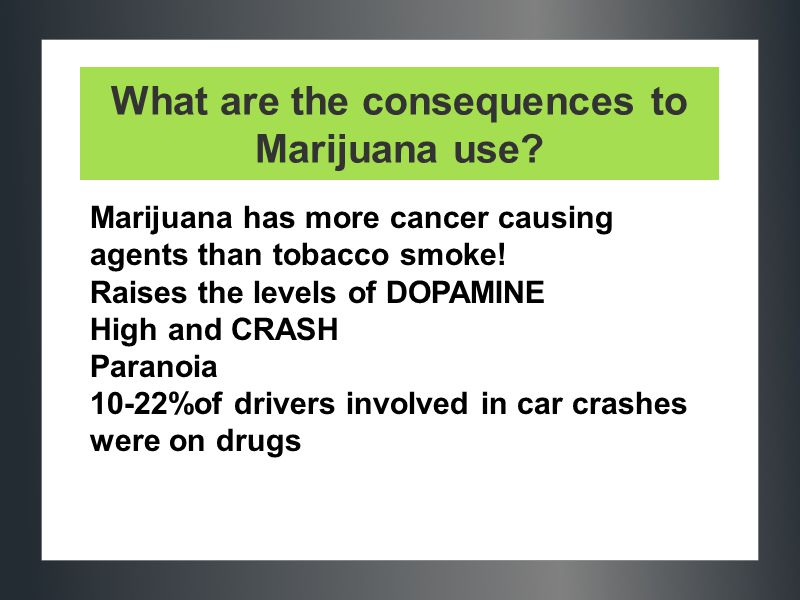 What are the consequences to Marijuana use
