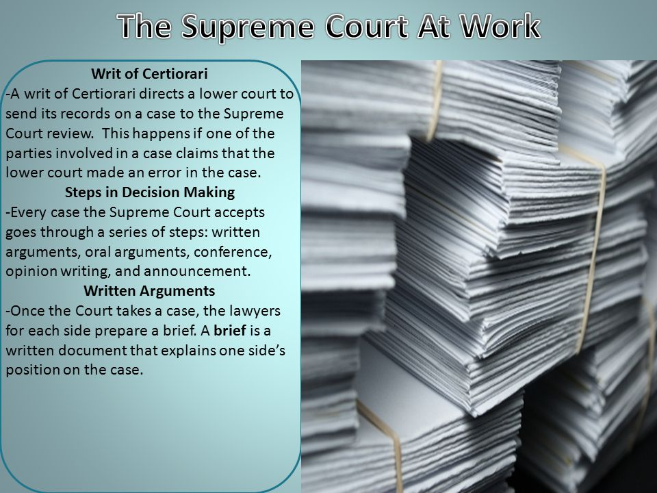 The Supreme Court At Work Steps in Decision Making