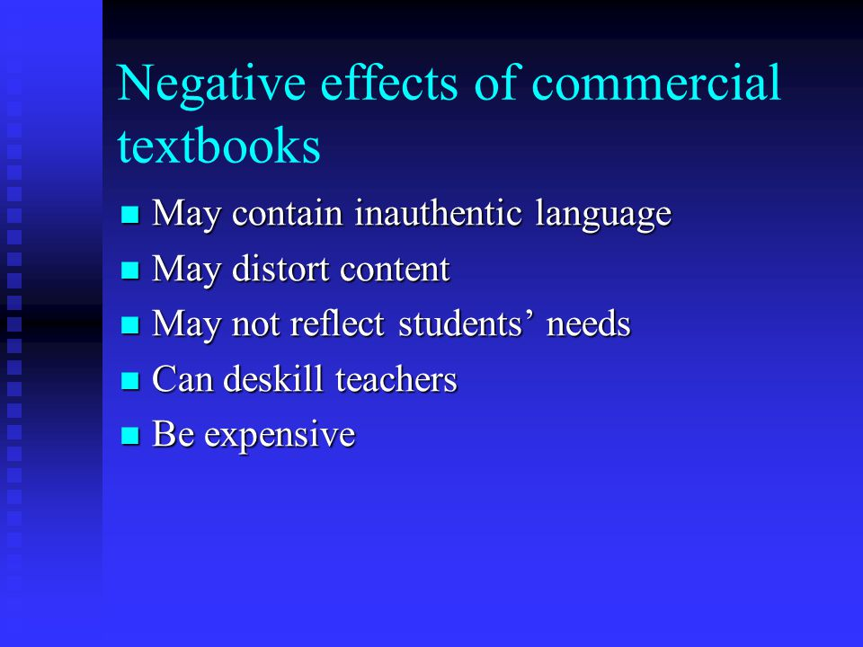Negative effects of commercial textbooks