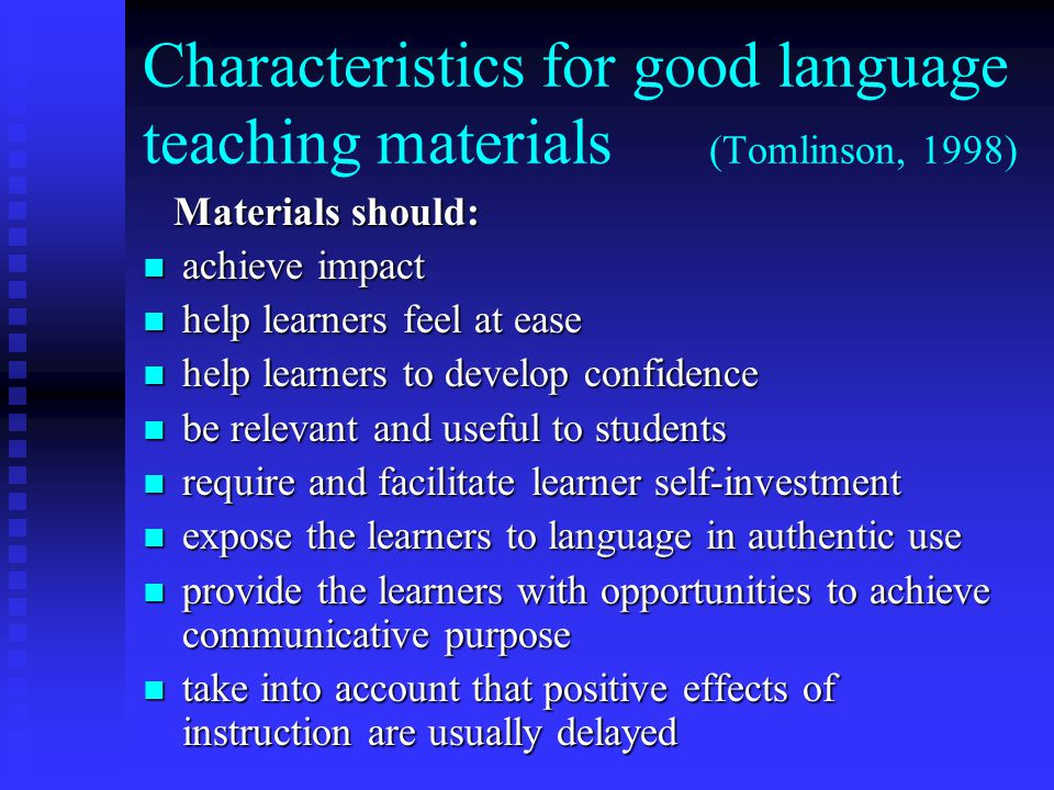 Characteristics for good language teaching materials (Tomlinson, 1998)