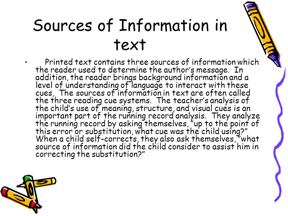 Sources of Information in text