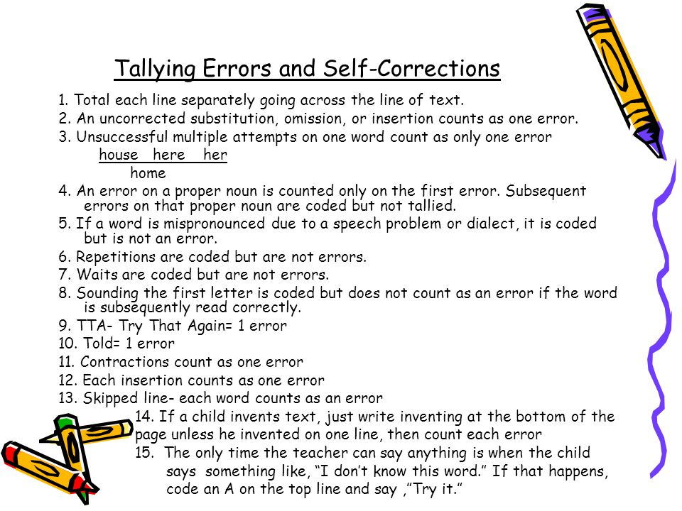 Tallying Errors and Self-Corrections