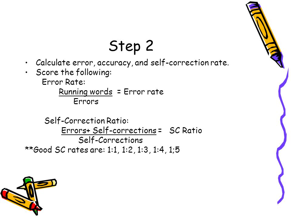 Step 2 Calculate error, accuracy, and self-correction rate.