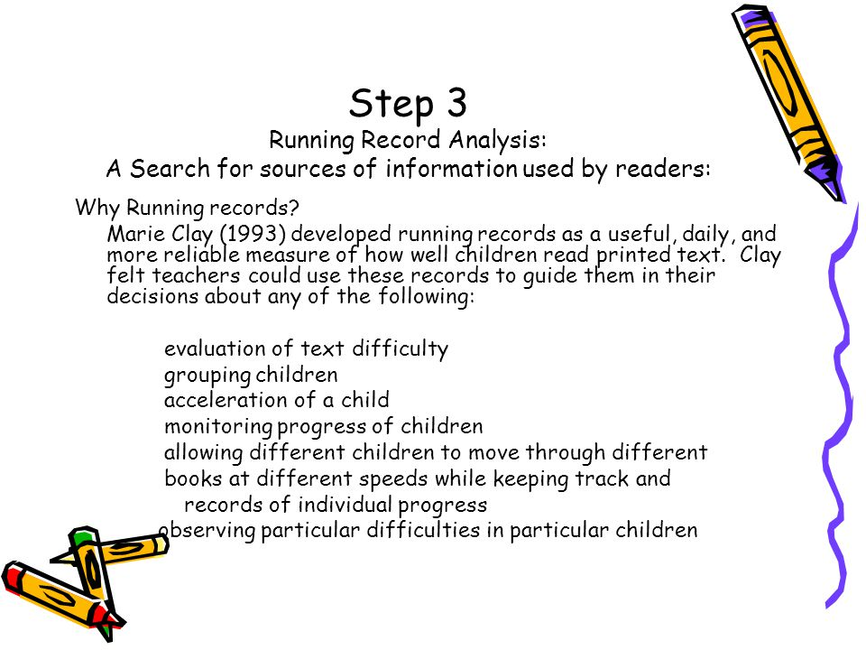 Step 3 Running Record Analysis: A Search for sources of information used by readers: