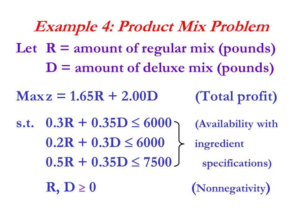 Example 4: Product Mix Problem