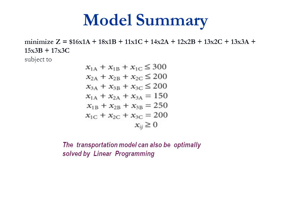 Model Summary minimize Z = $16x1A + 18x1B + 11x1C + 14x2A + 12x2B + 13x2C + 13x3A + 15x3B + 17x3C. subject to.