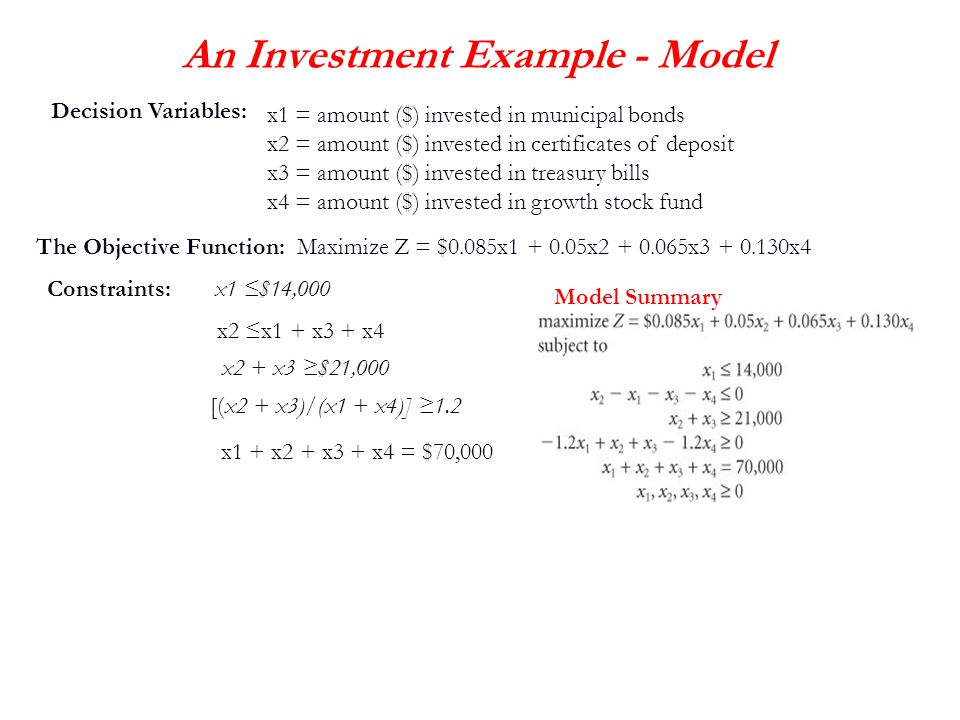 An Investment Example - Model
