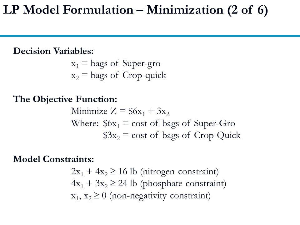 LP Model Formulation – Minimization (2 of 6)