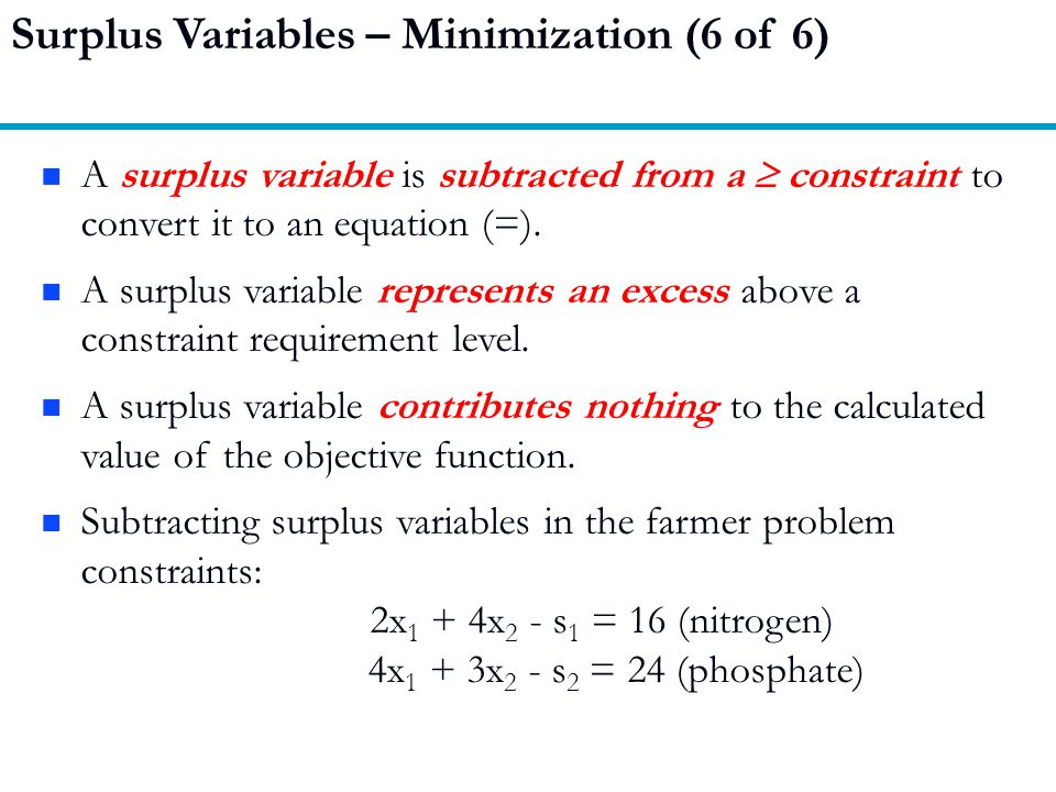 Surplus Variables – Minimization (6 of 6)
