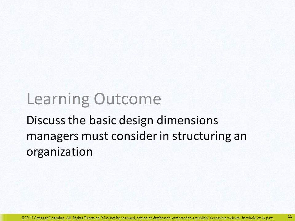 Learning Outcome Discuss the basic design dimensions managers must consider in structuring an organization.