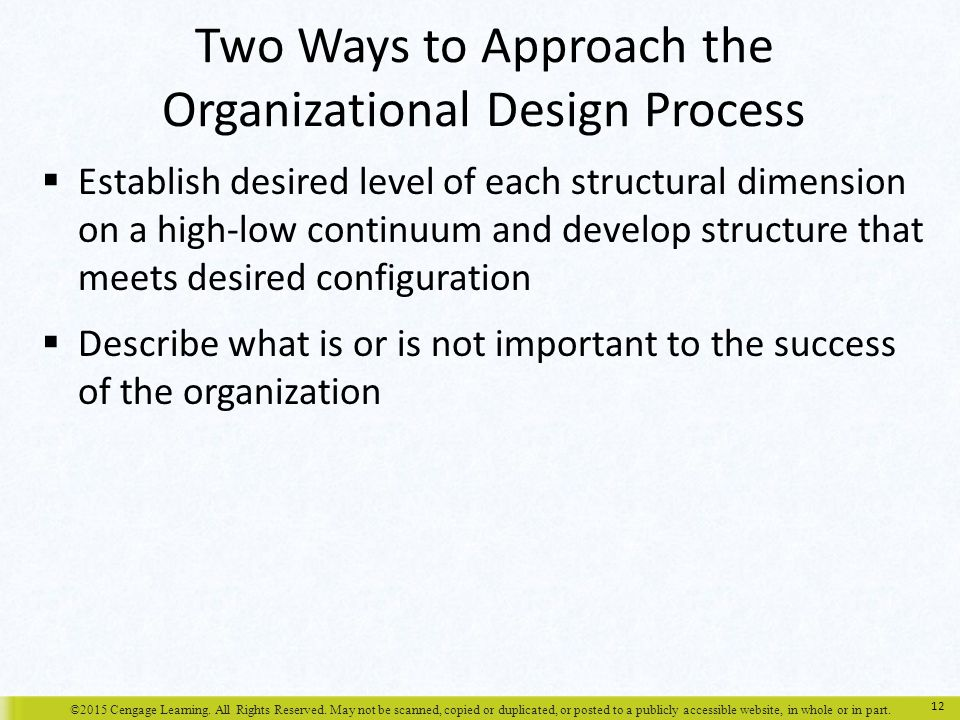 Two Ways to Approach the Organizational Design Process