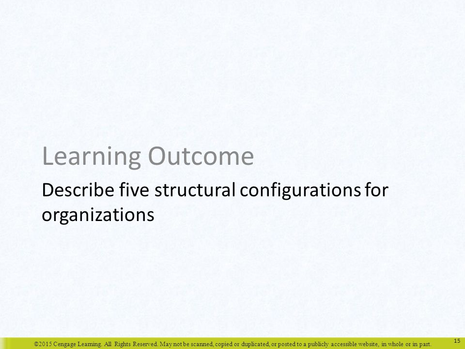 Describe five structural configurations for organizations