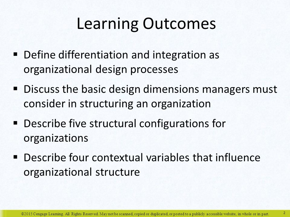 Learning Outcomes Define differentiation and integration as organizational design processes.