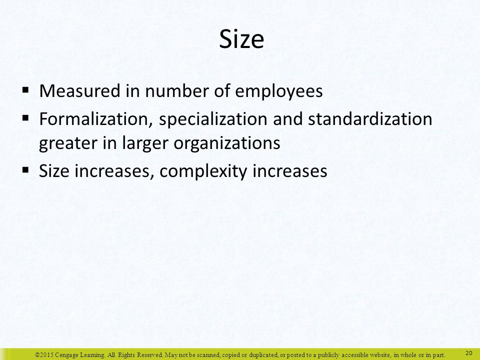 Size Measured in number of employees