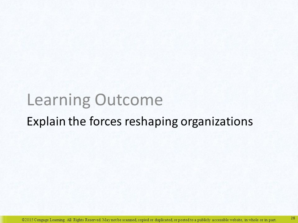 Explain the forces reshaping organizations