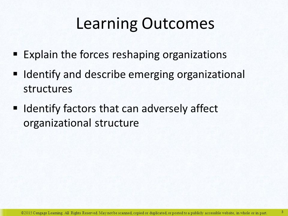 Learning Outcomes Explain the forces reshaping organizations
