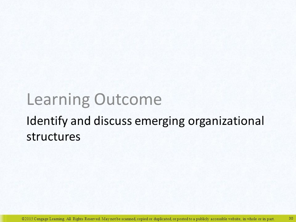 Identify and discuss emerging organizational structures