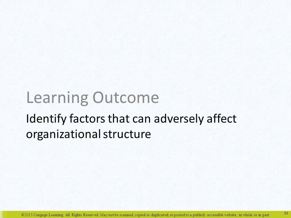 Identify factors that can adversely affect organizational structure