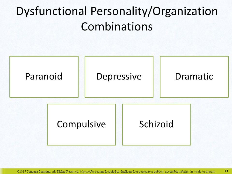 Dysfunctional Personality/Organization Combinations