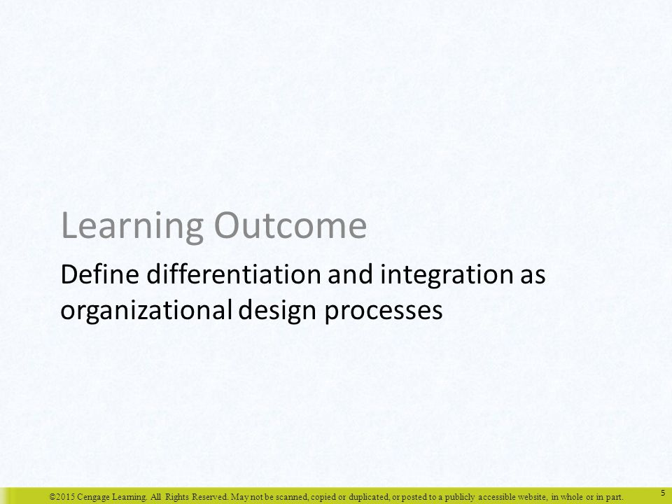 Learning Outcome Define differentiation and integration as organizational design processes.
