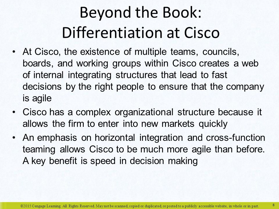 Beyond the Book: Differentiation at Cisco