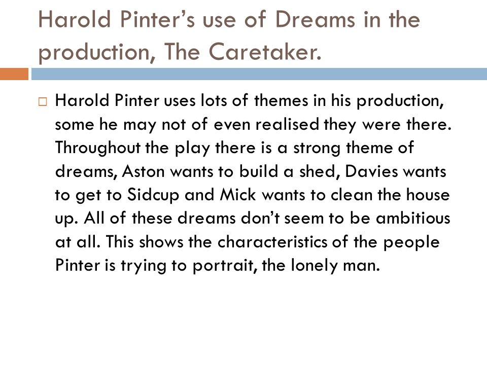 the caretaker harold pinter sparknotes