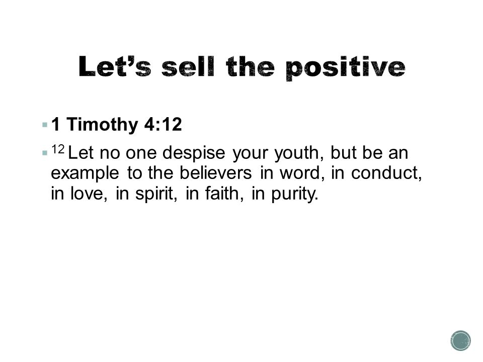Let's sell the positive