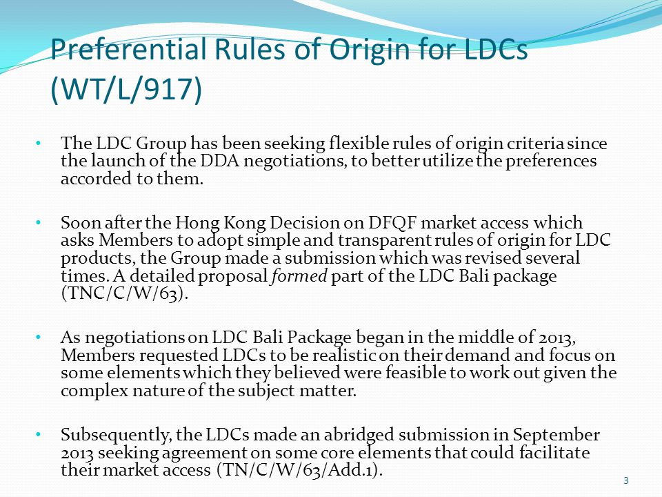 The Wto Bali Package For Ldcs Ppt Video Online Download