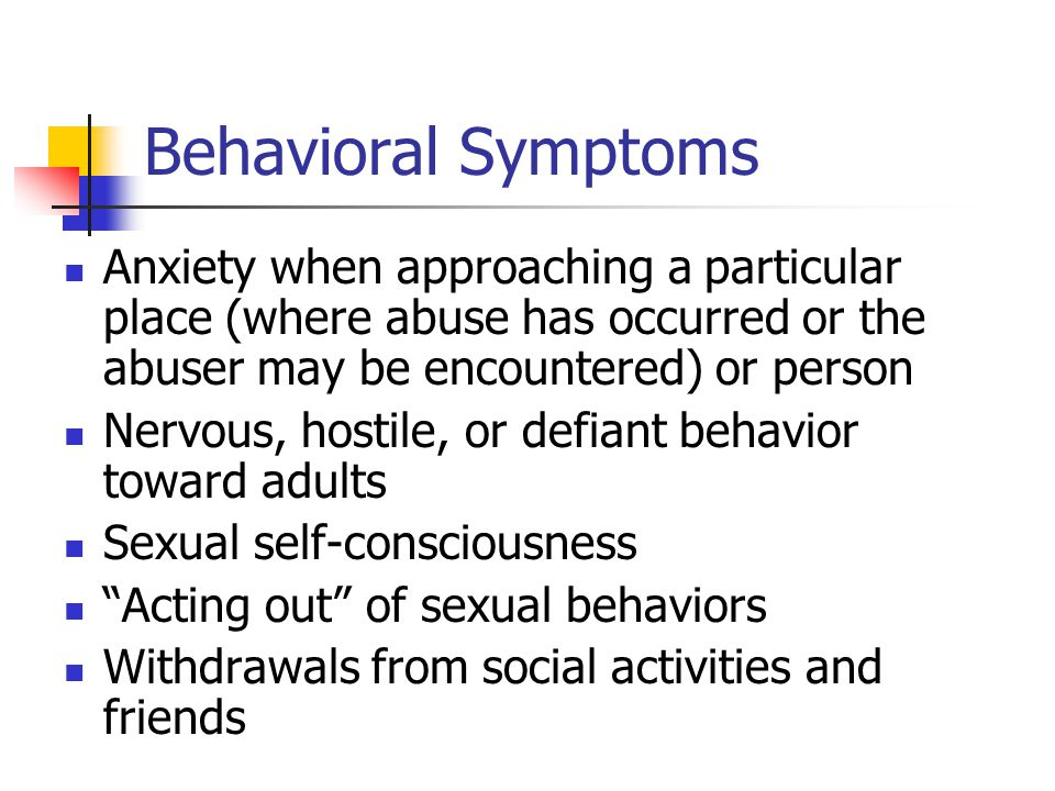Behaviors of sexually abused adults