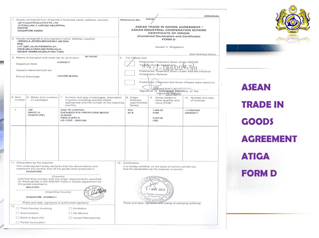 Electronic Exchange Of Atiga Form D The Malaysian Experience Ppt