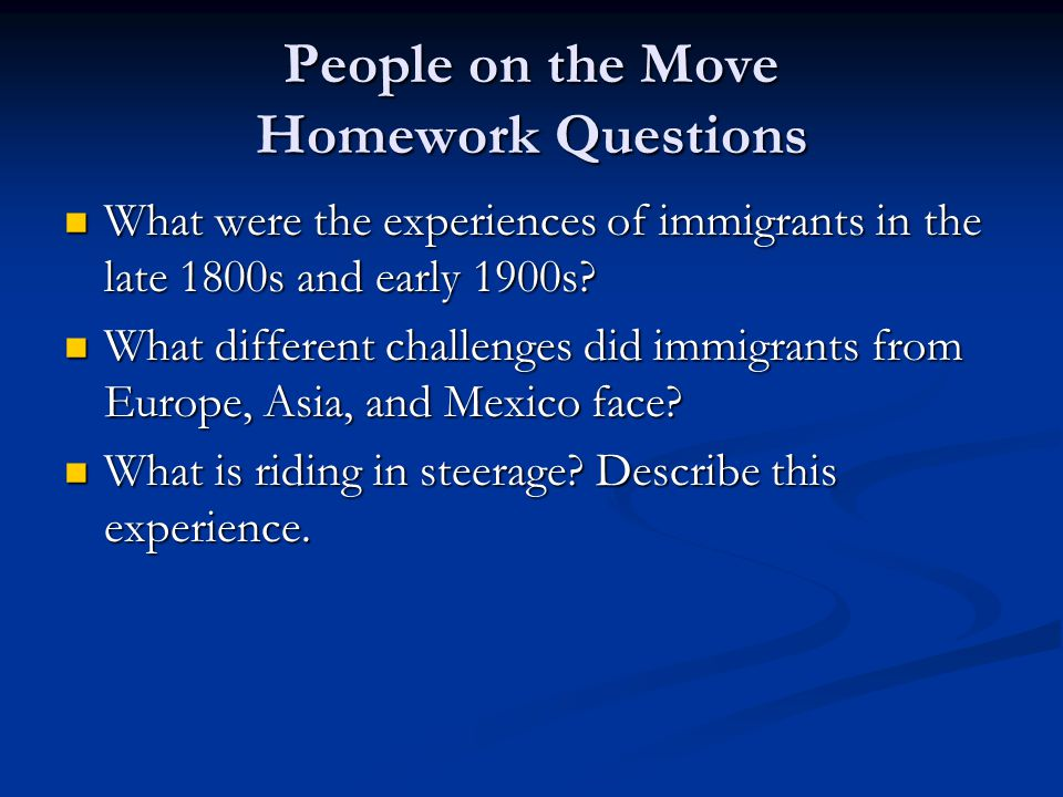 People on the Move Homework Questions
