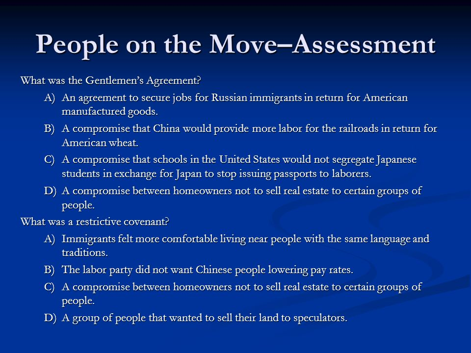 People on the Move–Assessment