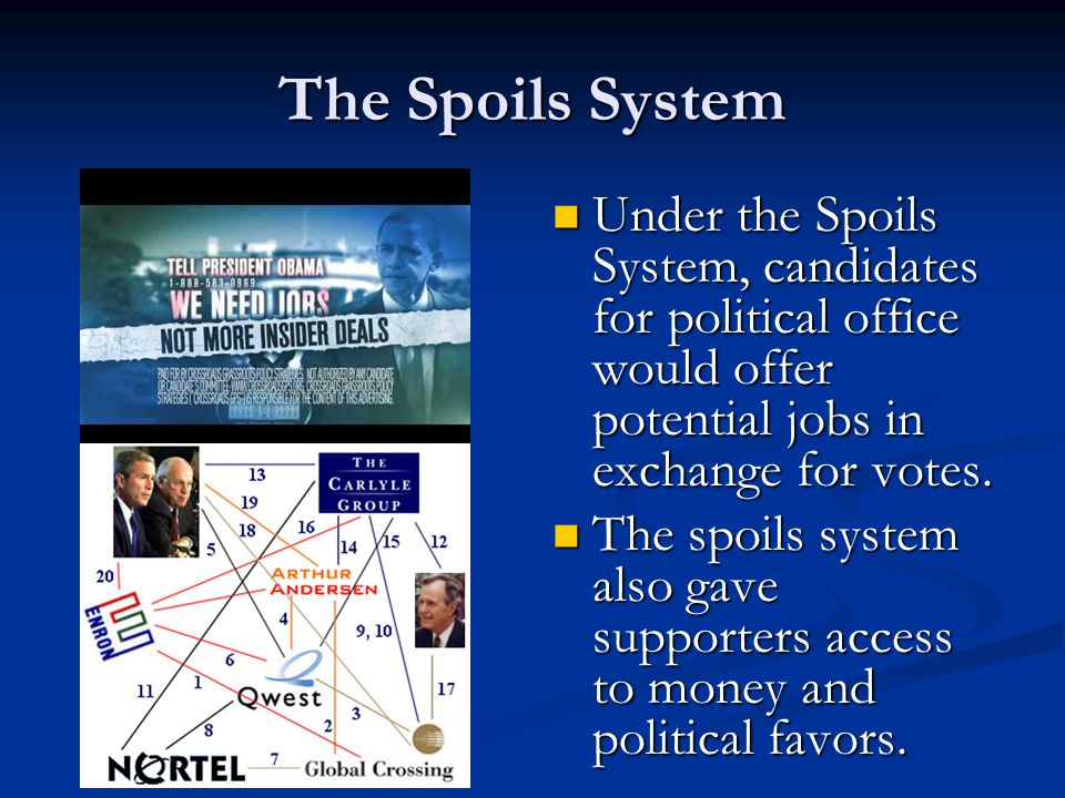 The Spoils System Under the Spoils System, candidates for political office would offer potential jobs in exchange for votes.