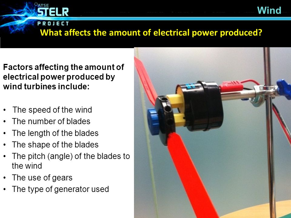 What affects the amount of electrical power produced