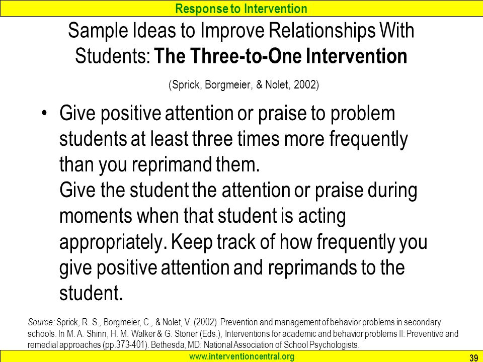 how to give a student positive attention