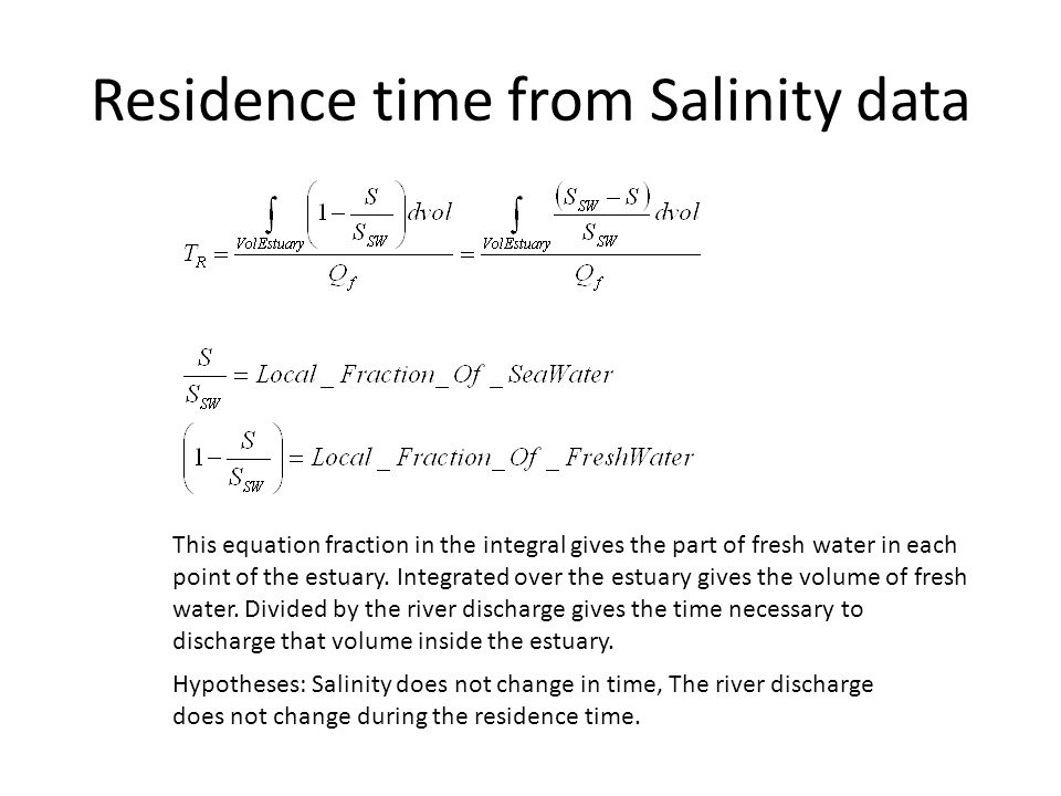 Residence time from Salinity data