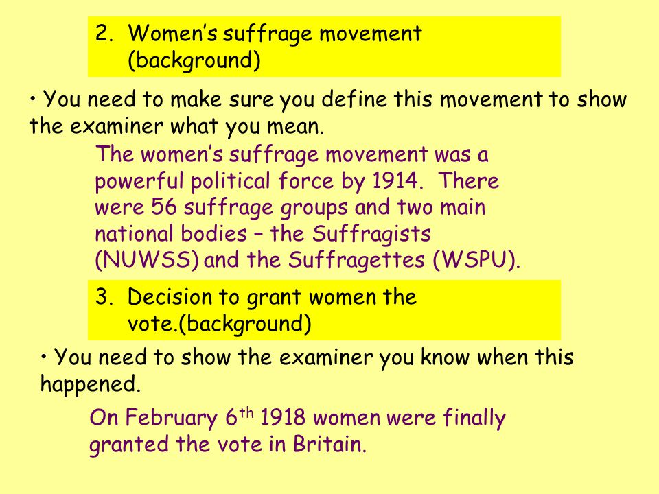 women suffrage essay example Womens suffrage essay examples submitted by porta25 words: 1104 as women began to express their idea and views, they took their ambition a step further by demanding suffrage and creating their own association to unite all the women striving for the same goal.