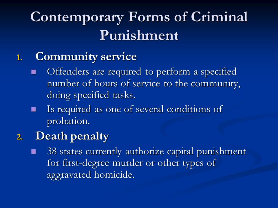 types of community service punishment