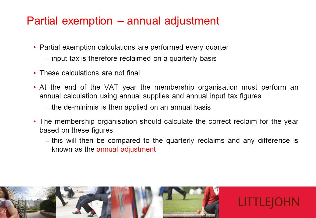 Partial exemption – annual adjustment