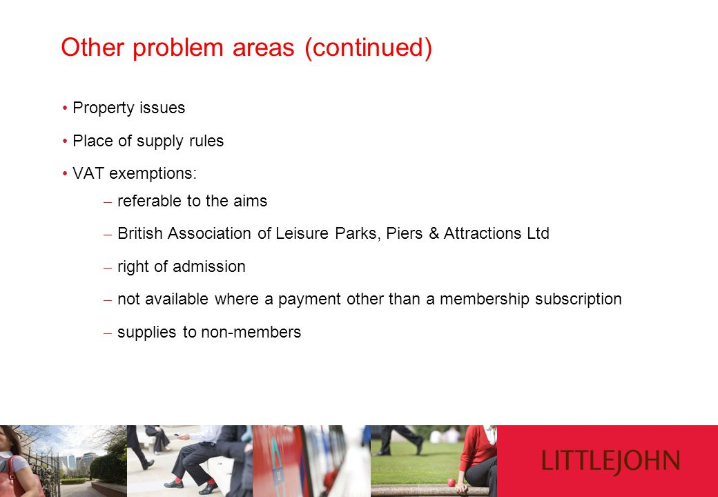 Other problem areas (continued)