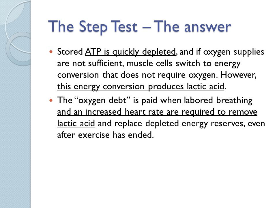 The Step Test – The answer