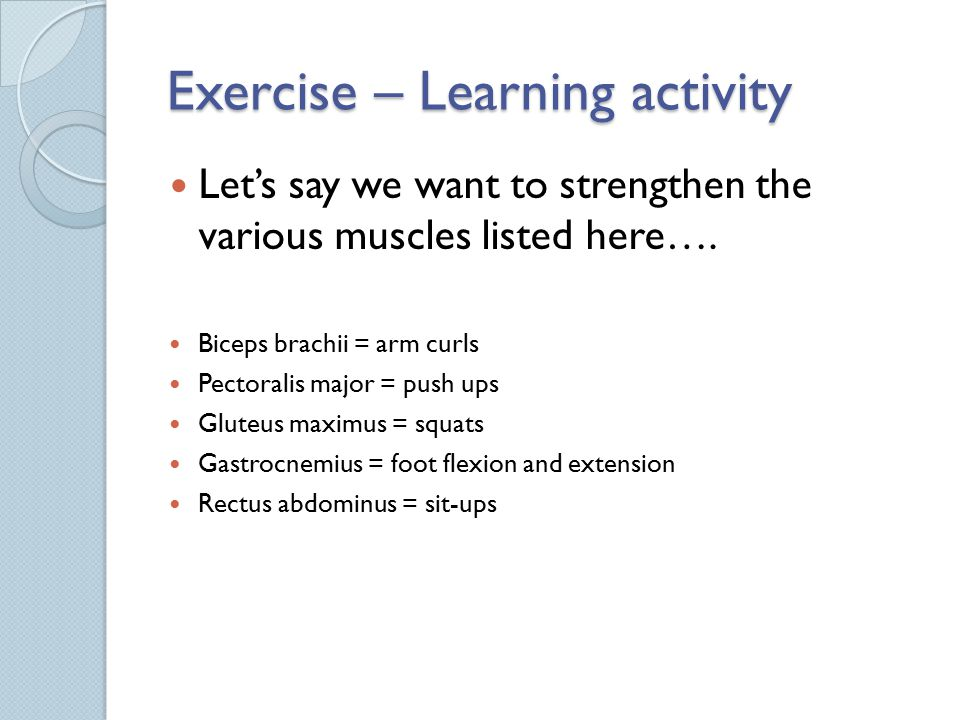 Exercise – Learning activity