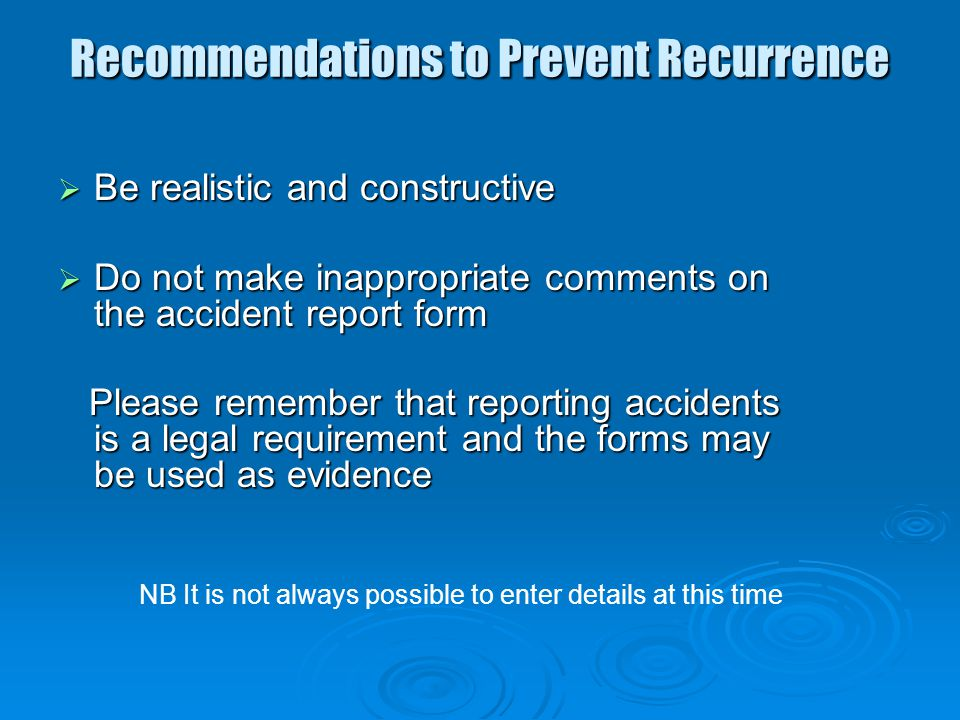 Recommendations to Prevent Recurrence