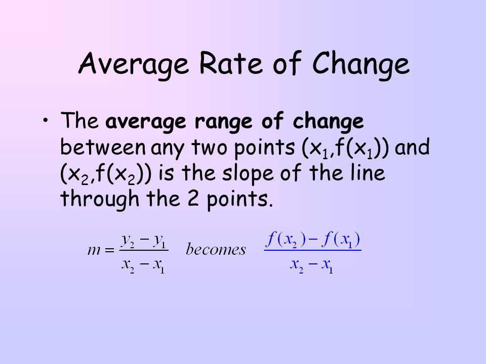 how to find the rate of change between two points