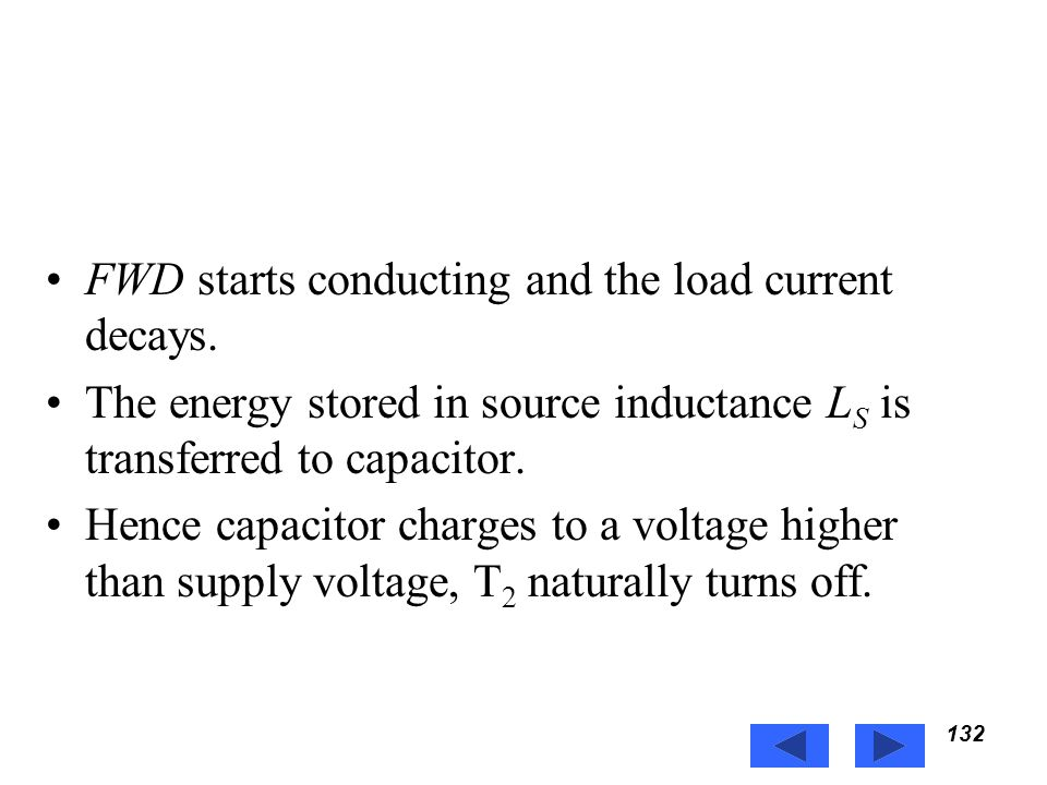 FWD starts conducting and the load current decays.